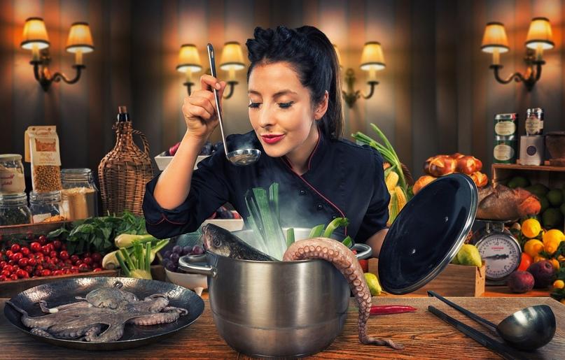 водолей готовит еду